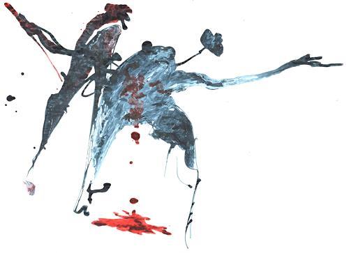 Reiner Poser, Macbeth, Diverse Menschen, Spurensicherung, Abstrakter Expressionismus