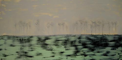 Reiner Poser, Forest in twilight, Landschaft, Expressionismus