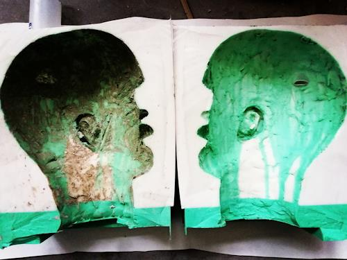 Reiner Poser, Selbstporträt, Menschen, Menschen: Mann, Abstrakte Kunst