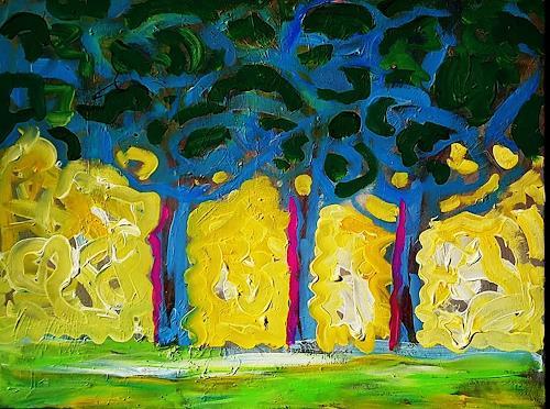 Reiner Poser, Bäume im Frühling, Landschaft, Expressionismus, Abstrakter Expressionismus