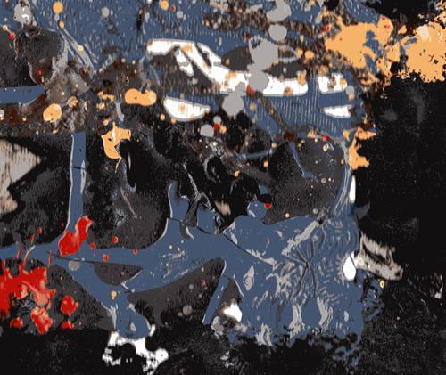 Reiner Poser, Am Rande des schwarzen Lochs, Abstraktes, Informel, Abstrakter Expressionismus