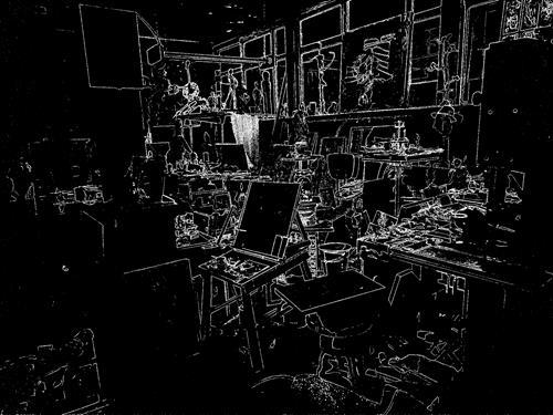 Reiner Poser, Mitternacht im Atelier, Architektur, Hyperrealismus, Abstrakter Expressionismus