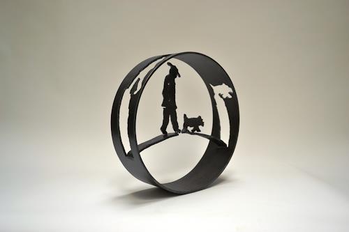 Cla Coray, Morgenspaziergang, Menschen: Mann, Diverse Tiere, Moderne