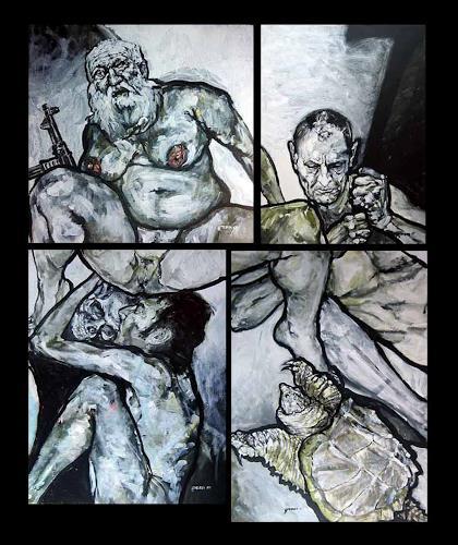 "Nikolaus Pessler, ""Die Versuchungen des heiligen Antonius"", Diverses, Gegenwartskunst, Abstrakter Expressionismus"