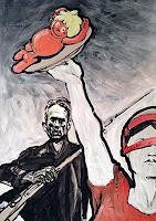 """N. Pessler, Als Neo Rauch, in einem realsozialistischen Traum, die """"nackte Maja"""" präsentiert wurde."""