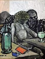 N. Pessler, Die Absinthtrinkerin... frei nach Degas...