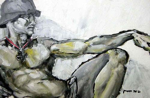 Nikolaus Pessler, Die Erschaffung Adams ..., Diverses, Gegenwartskunst, Abstrakter Expressionismus