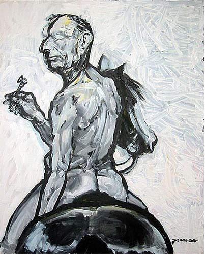 Nikolaus Pessler, Günter Brus mag keine Westernpferde ...., Diverses, Gegenwartskunst, Abstrakter Expressionismus