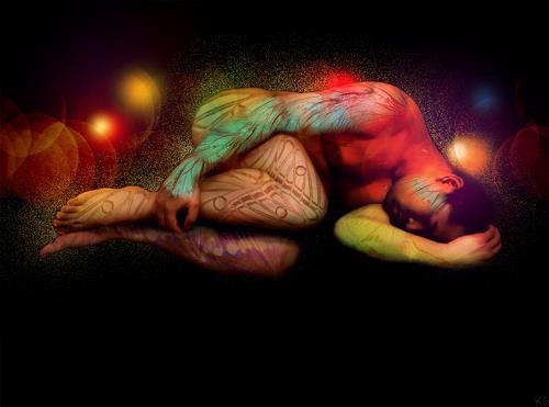 Katrin Ginster, in rainbows, 4, Menschen: Mann, Akt/Erotik: Akt Mann, Gegenwartskunst, Abstrakter Expressionismus