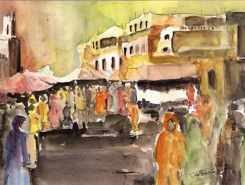 Berthold M. Rubenbauer, Souk von Marrakesch, Markt, Markt, Expressionismus