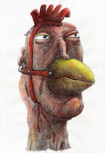 Walter  Rieseder, Kopfgeschichten 03, Diverse Menschen, Skurril, Abstrakter Expressionismus