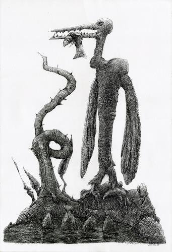 Walter  Rieseder, Nette Vögel, Fantasie, Gesellschaft, Abstrakter Expressionismus