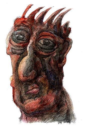 Walter  Rieseder, Kopfgeschichten, Fantasie, Menschen: Gesichter, Abstrakter Expressionismus