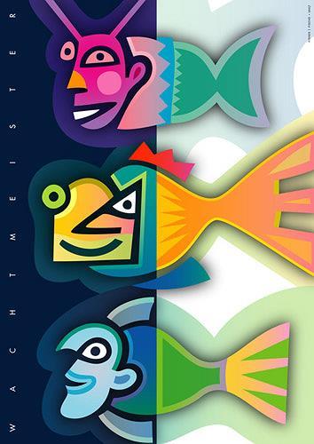 Bernd Wachtmeister, Fishes   Fische, Humor, Diverse Tiere, Gegenwartskunst