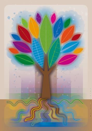 Bernd Wachtmeister, ColorLeafsSnakeRootsTree | Farbenblätter-Schlangenwurzel-Baum, Pflanzen: Bäume, Landschaft: Frühling, Gegenwartskunst, Expressionismus