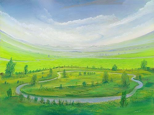 Silvian Sternhagel, Wasserrondell, Fantasie, Landschaft: Hügel, Surrealismus