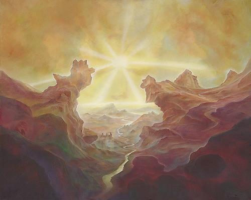Silvian Sternhagel, Lichtwende, Landschaft: Hügel, Skurril, Symbolismus, Abstrakter Expressionismus