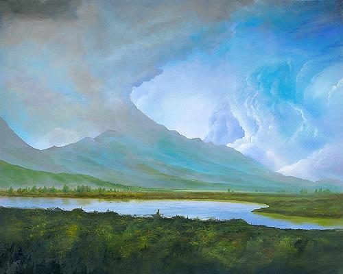 Silvian Sternhagel, Lichttor, Landschaft: Berge, Landschaft: Sommer, Impressionismus