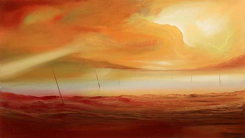 Silvian Sternhagel, Abendferne, Landschaft: See/Meer, Fantasie, Gegenwartskunst, Expressionismus