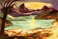 Merovee-Landschaft-See-Meer-Landschaft-Berge