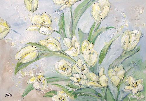 Ute Heitmann, Tulpen, weiß, Pflanzen: Blumen, Pflanzen: Blumen, Gegenwartskunst