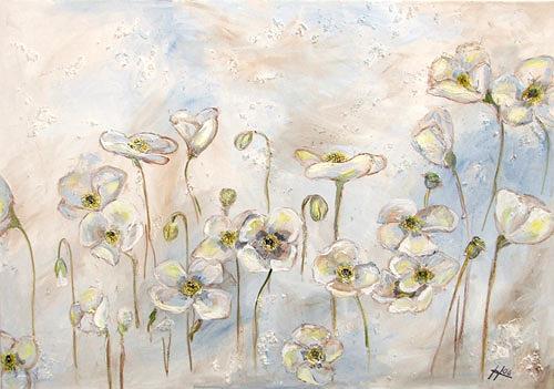 Ute Heitmann, Mohn, weiß, Pflanzen: Blumen, Gegenwartskunst