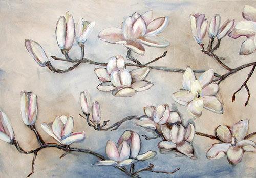 Ute Heitmann, Magnolien, weiß, Pflanzen: Blumen, Gegenwartskunst