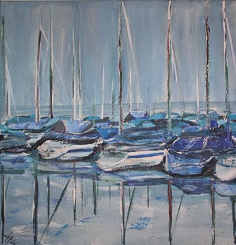 Ute Heitmann, Boote, Natur: Wasser, Verkehr: Schiff, Gegenwartskunst, Expressionismus