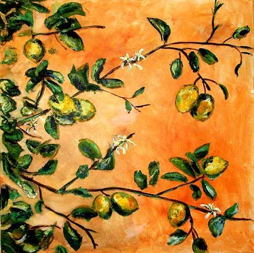 Ute Heitmann, Zitronen Zweige, Pflanzen: Früchte, Pflanzen: Bäume, Gegenwartskunst