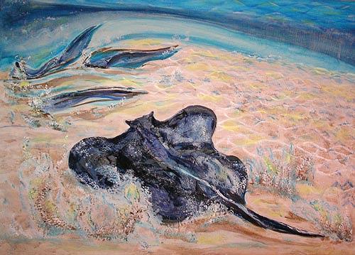Ute Heitmann, Stingrays, Landschaft: See/Meer, Tiere: Wasser, Gegenwartskunst