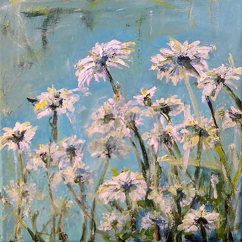 Ute Heitmann, Margeriten I, Pflanzen: Blumen, Gegenwartskunst, Expressionismus