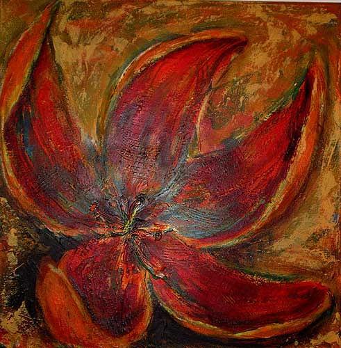 Ute Heitmann, Blume rot, Pflanzen: Blumen, Gegenwartskunst