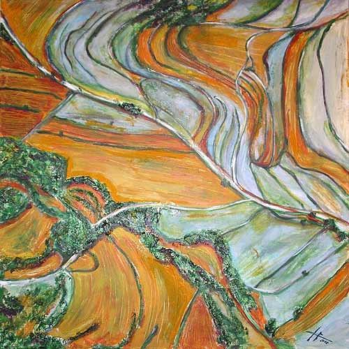 Ute Heitmann, Felder von oben, Landschaft: Ebene, Natur: Erde, Gegenwartskunst