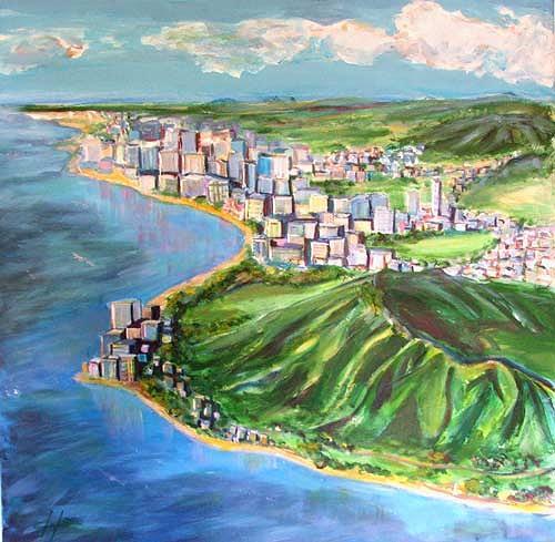Ute Heitmann, Diamant Head, Waikiki Hawaii, Architektur, Landschaft: See/Meer