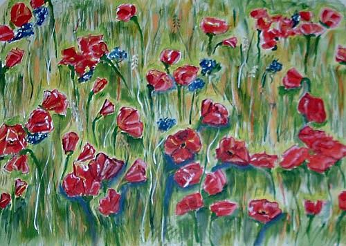 Ute Heitmann, mohnfeld, Pflanzen: Blumen, Landschaft: Sommer, Gegenwartskunst