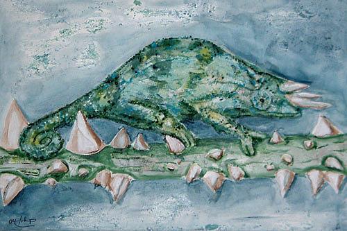 Ute Heitmann, chamäleon, Tiere: Land, Diverse Tiere, Gegenwartskunst