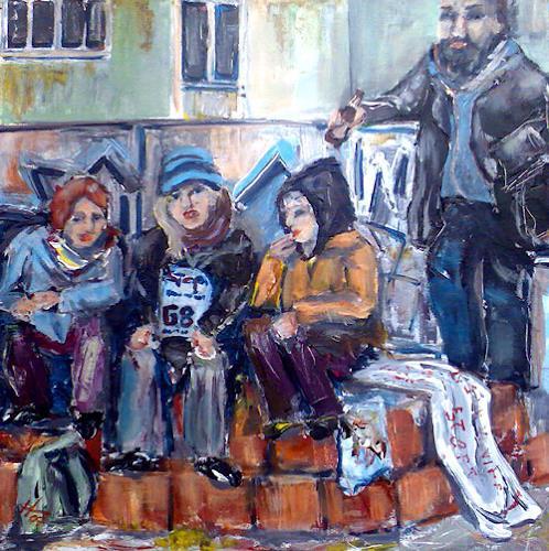 Ute Heitmann, Revolutionspause, Menschen: Gruppe, Gegenwartskunst, Expressionismus