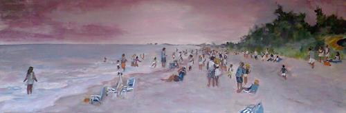 Ute Heitmann, Sunset Captiva, Freizeit, Menschen: Gruppe, Gegenwartskunst, Expressionismus