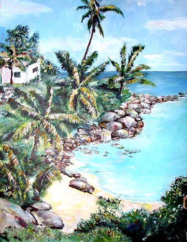 Ute Heitmann, Seychellen_2, Landschaft: Tropisch, Pflanzen: Palmen, Gegenwartskunst