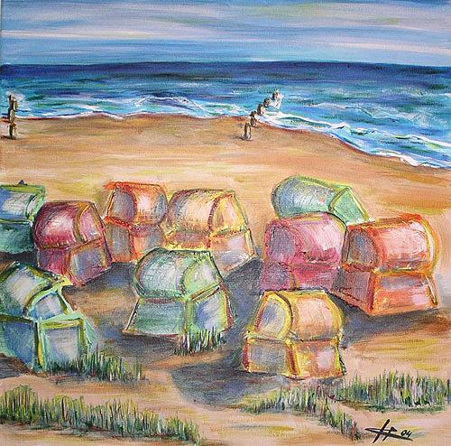 Ute Heitmann, Strandkörbe I, Landschaft: Strand, Gegenwartskunst