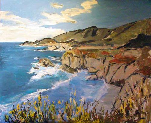 Ute Heitmann, Kalifornien Klippen, Landschaft: See/Meer, Landschaft: Hügel, Gegenwartskunst