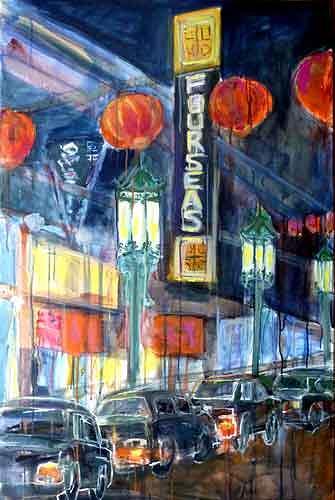 Ute Heitmann, Frisco Chinatown II, Architektur, Verkehr, Gegenwartskunst