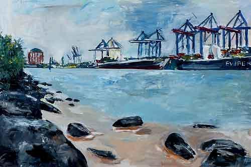 Ute Heitmann, Hamburg Hafen II, Verkehr: Schiff, Natur: Wasser, Gegenwartskunst