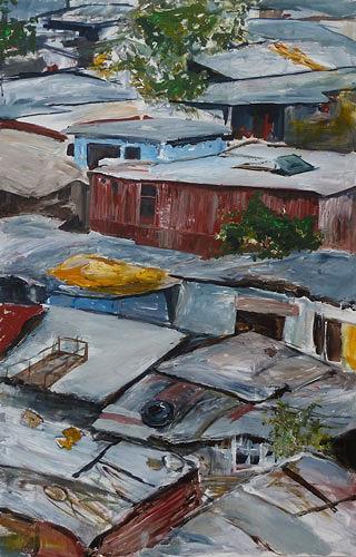 Ute Heitmann, Township Südafrika, Diverse Bauten, Gesellschaft, Gegenwartskunst