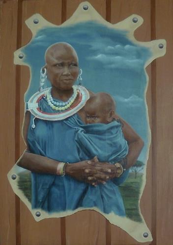Annett Magnabosco, Massai mit Kind, Menschen: Paare, Menschen: Familie, Realismus