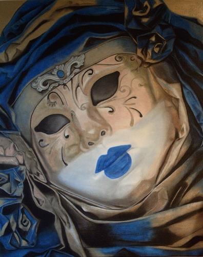 Annett Magnabosco, Venezianische Maske1, Karneval, Realismus, Expressionismus