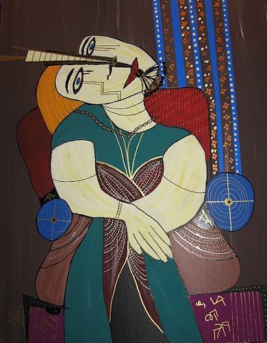 Picasa Von Brigitte Holzinger Abstraktes Menschen Frau Malerei