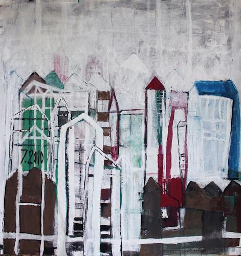 Sigrid Arnold Heinlein, Bunte Stadt 100x110, Abstraktes, Symbol, Abstrakte Kunst