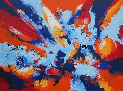 Friedhard Meyer, Bleu Royal, Abstraktes, Fantasie, Informel
