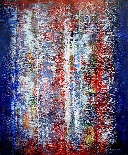 Friedhard Meyer, Rot zwischen Blau, Abstraktes, Diverses, Gegenwartskunst